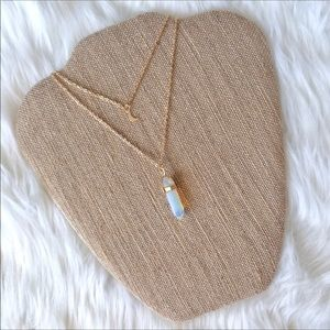 Jewelry - Opal Healing Crystal and Moon Necklace